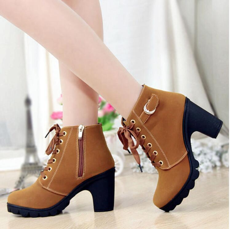 Women 's Thick High Heel Ankle Boots With Gold Embellishments Sizes 5 - 9