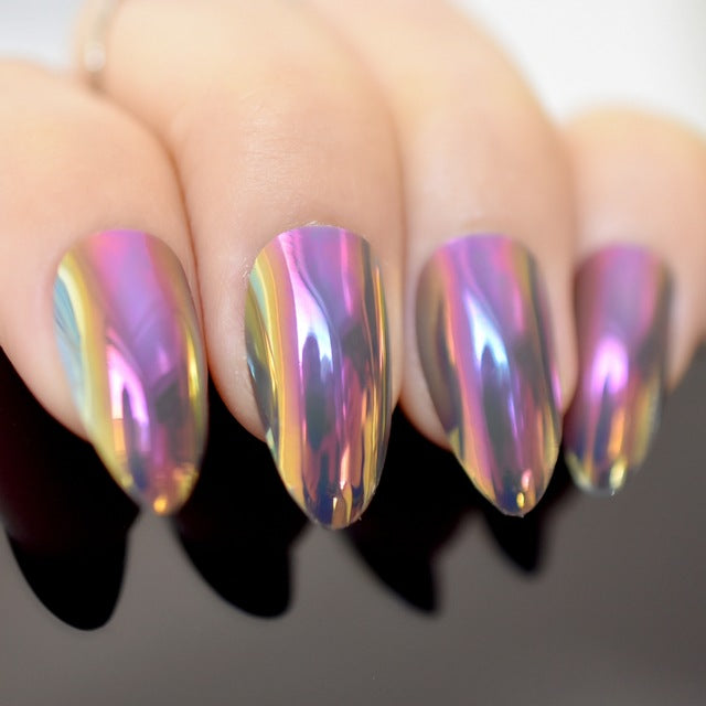 Sexy 24 Piece Sexy Mirror Finish Metallic Stiletto Acrylic Nail Tips