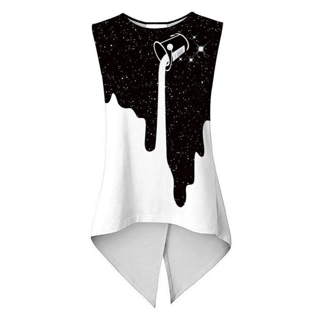 Women's Sexy Sleeveless Milk Star Print Vest Like Blouse Sizes S - XL