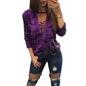 Women's New Fashion Camouflage Print Long Sleeve Slim V-Neck Lace-up Shirt S - 4XL