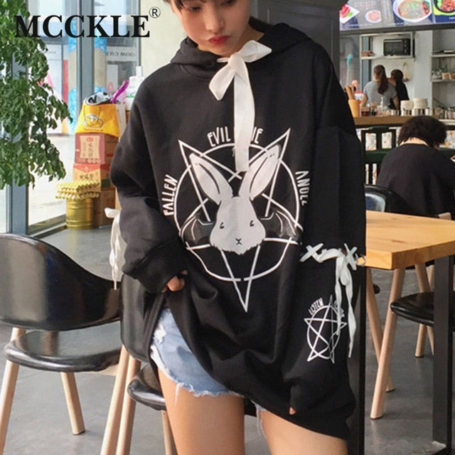 Autumn Style Women's Rabbit Pentacle Print Lace Up Hoodie One Size Fits Most