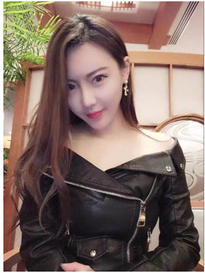 Sexy Women's Off-The-Shoulder Fashion Leather Jacket Sizes S - XL