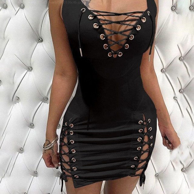 Sexy Women's Sleeveless Side Split Lace Up Fashion Bodycon Dress Sizes S - XXL