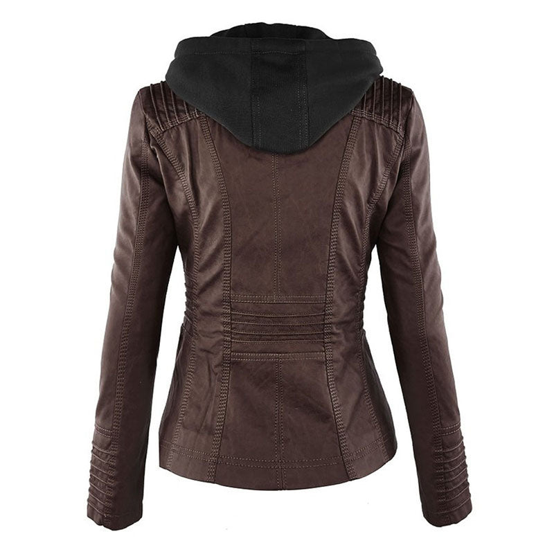 Women's Rosetic Gothic Faux Leather Hooded Winter Autumn #MotorcycleJacket Sizes S - 7XL