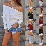 Women's Autumn or Winter Long Sleeve Fashion Boat Neck Sweater