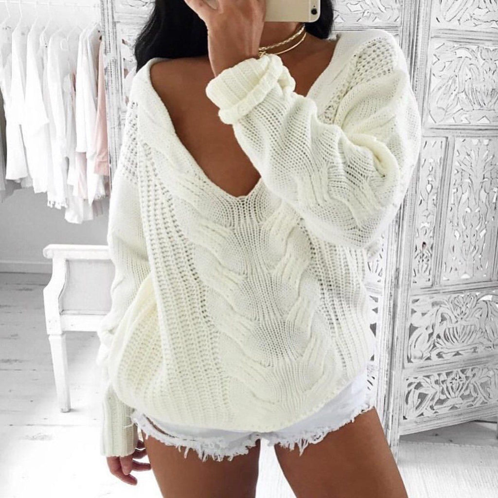 Women's Sexy Deep V Neck White Pullover Sweater