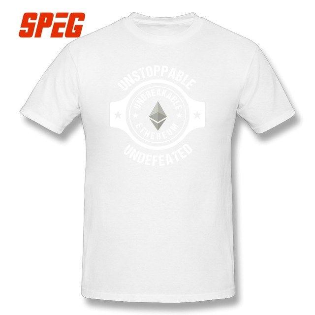 Ethereum Blockchain Crypto currency O-Neck Tops T-Shirt Men's 100% Cotton Printing Short Sleeves T Shirts Funny Tees