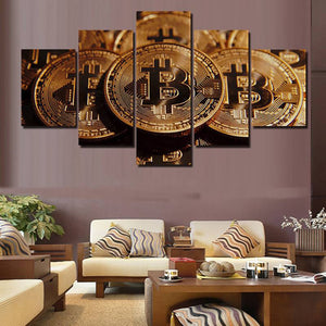 5-Piece Bitcoin Canvas Set (Various Sizes)