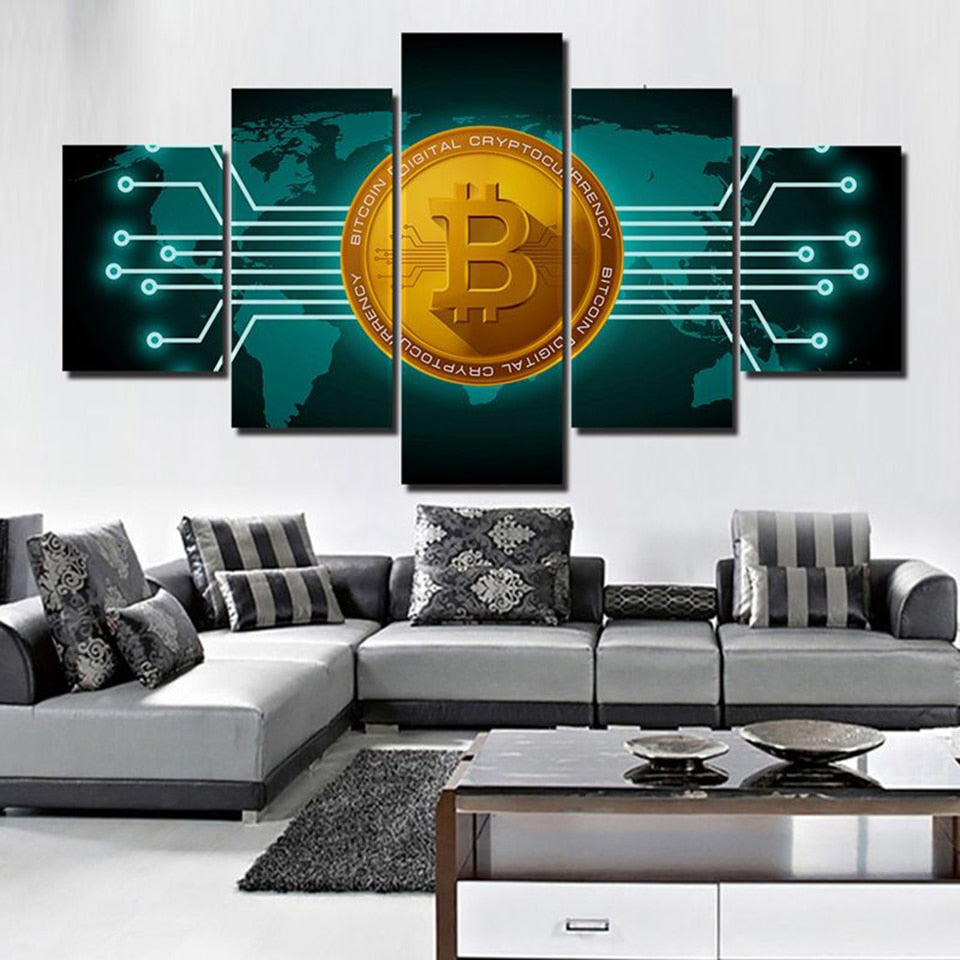 5-Piece Bitcoin World Map Canvas Set (Various Sizes)