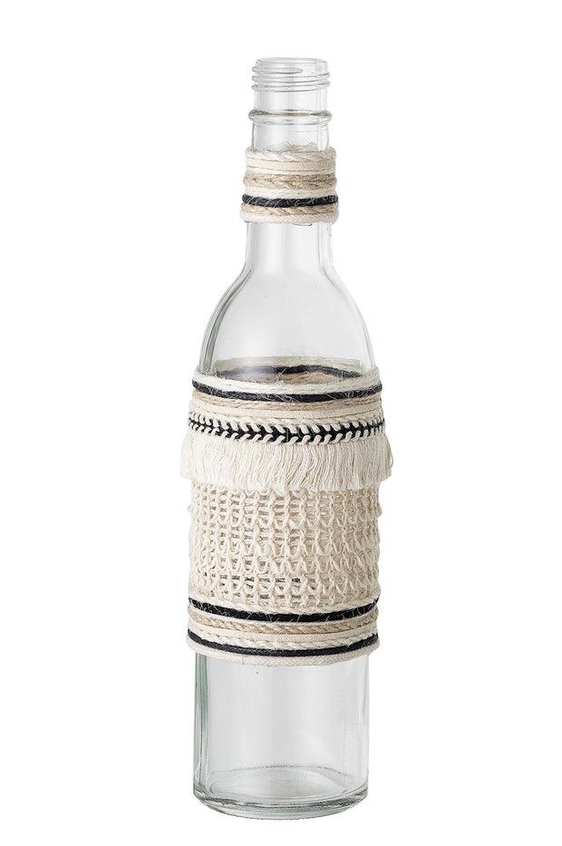 Bloomingville Tall Glass Vase with Woven Detailing