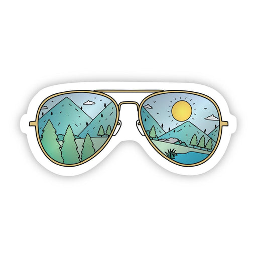Big Moods Sunglasses with Mountains Sticker