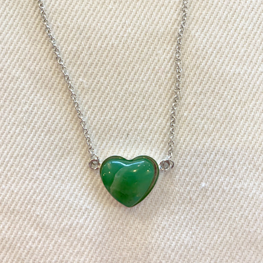 Crystal Creek Gems: Nephrite Jade Heart Pendant with Chain