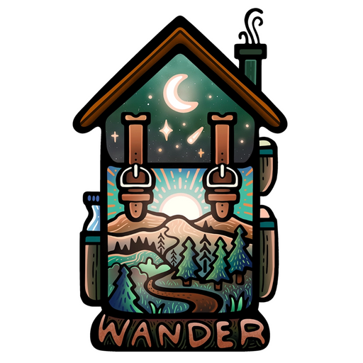 Wander Backpacking Cabin Hiking Sticker