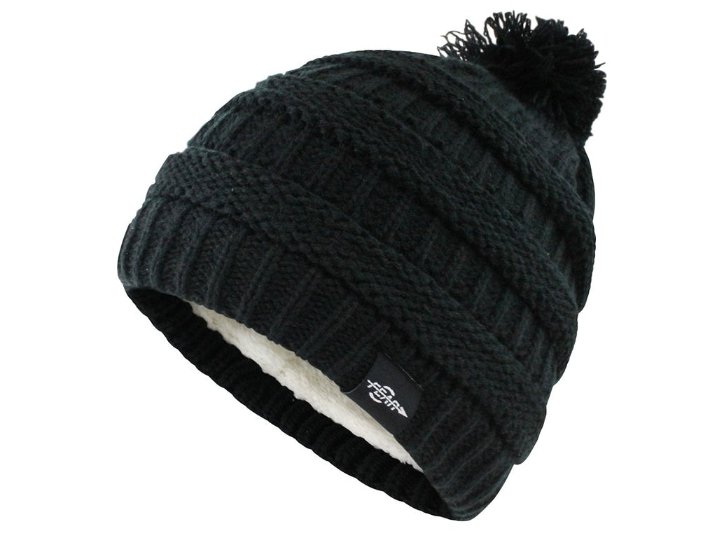 Fear0 Women's Plush Insulated Extreme Cold Knit Pom Beanie Hat - Benn Burry