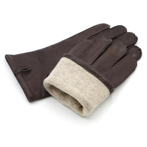 Harssidanzar Men's Warm Winter Cashmere lined Canada Deerskin Leather Gloves