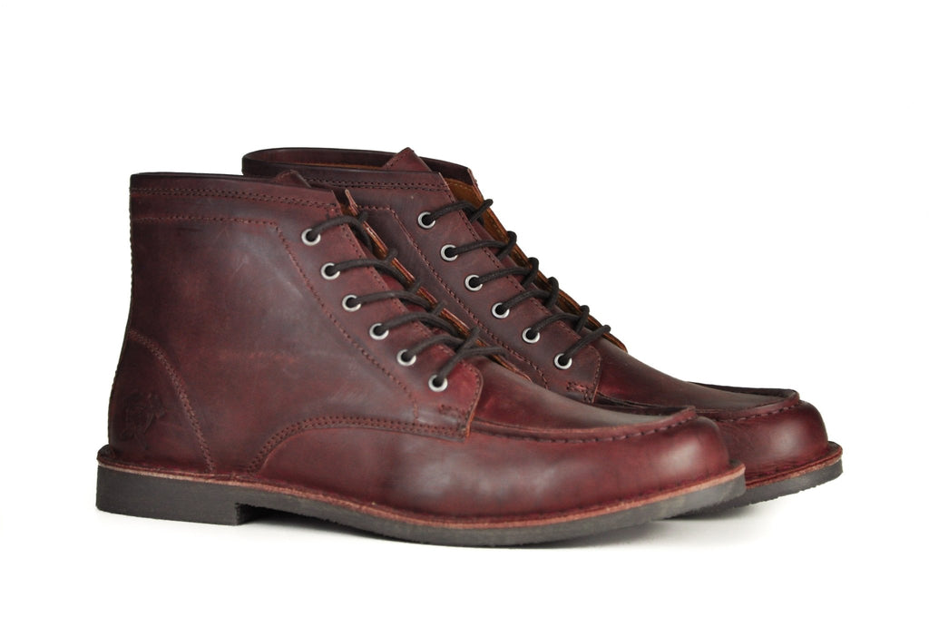 "Hound & Hammer ""The Cooper"" Oxblood Leather Work Boots for Men"