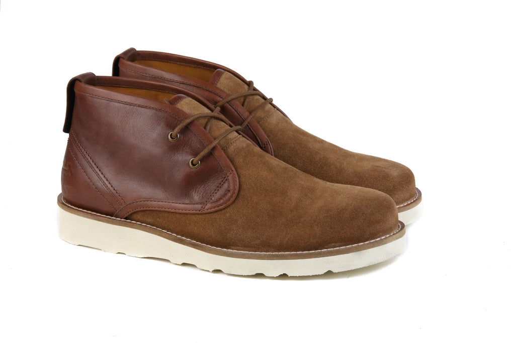 "Hound & Hammer ""The Nolan"" Cognac Leather & Suede Boots - Benn Burry"