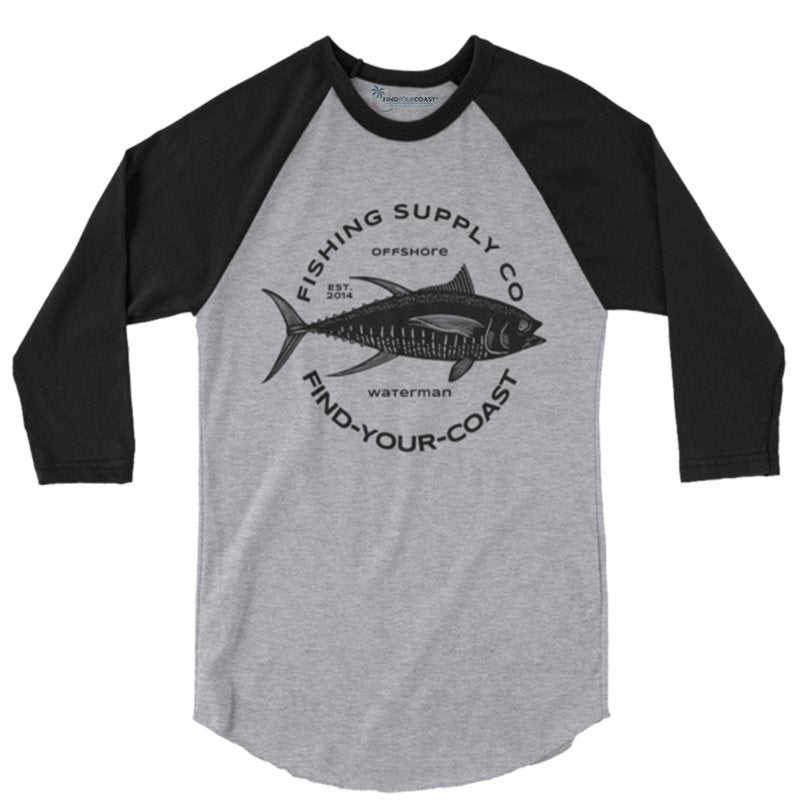 Men's Fishing Supply Co. 3/4 Sleeve Heather Grey/Black Raglan Shirt