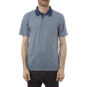 PX Clothing Men's Davis Short-Sleeve Polo Shirt in Blue