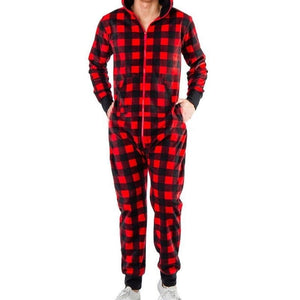Soft & Warm Long Sleeve Holidays Print Hooded One Piece Pajama Jumpsuits for Men