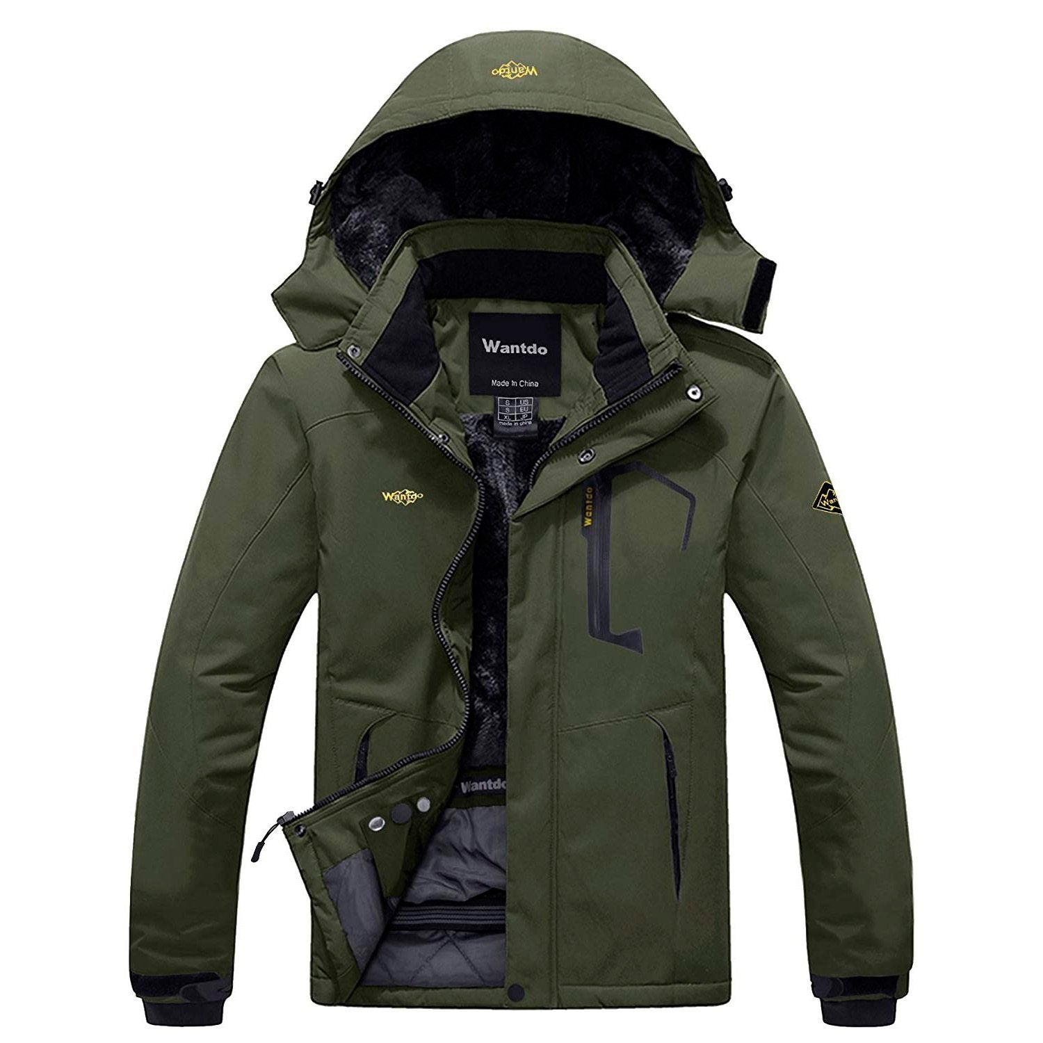 Wantdo Men's Warm Fleece Lined Waterproof Winter Ski Parka with Detachable Hood
