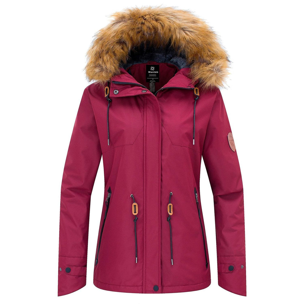 Wantdo Women's Warm Long Vintage Style Winter Parka with Fur Hood