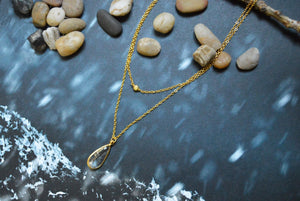 White Gold Layered Crystal Drop Necklace
