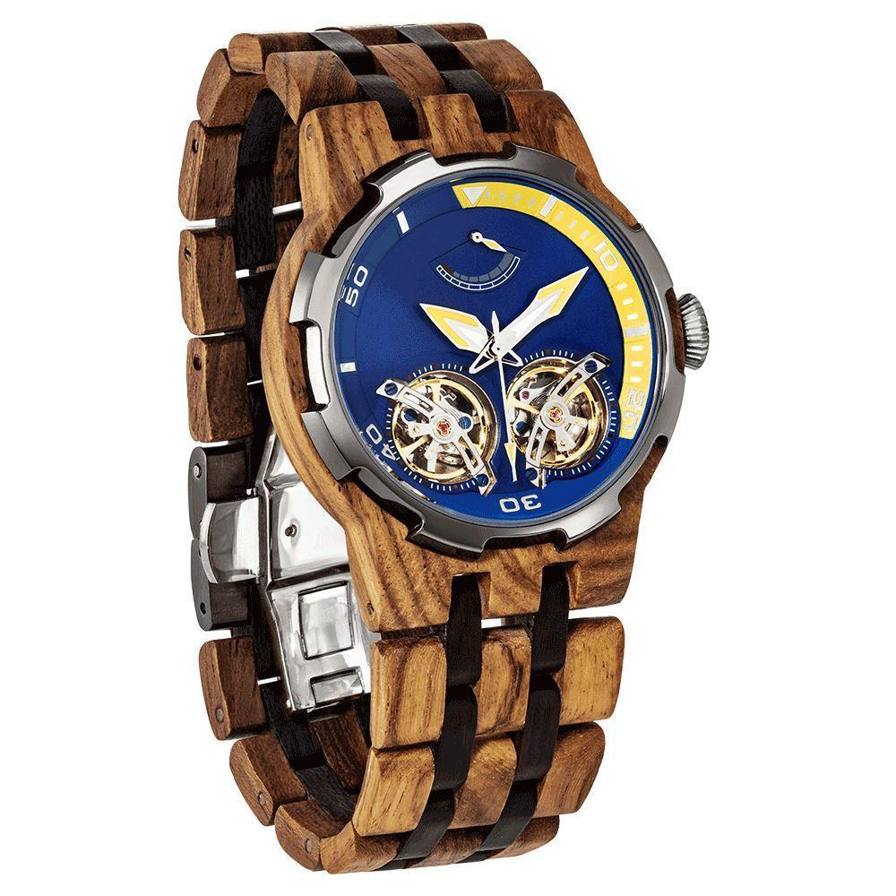 Wilds Wood Men's High End Collectors Dual Wheel Automatic Ambila Wood Watch