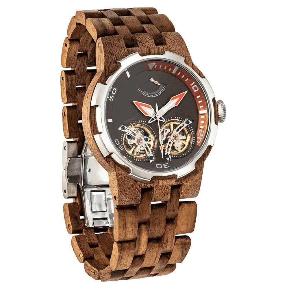 Wilds Wood Men's High End Collectors Dual Wheel Automatic Walnut Wood Watch