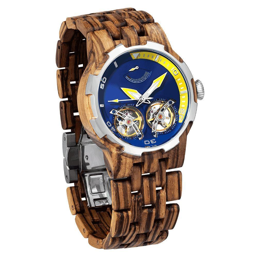 Wilds Wood Men's High End Collectors Dual Wheel Automatic Zebra Wood Watch