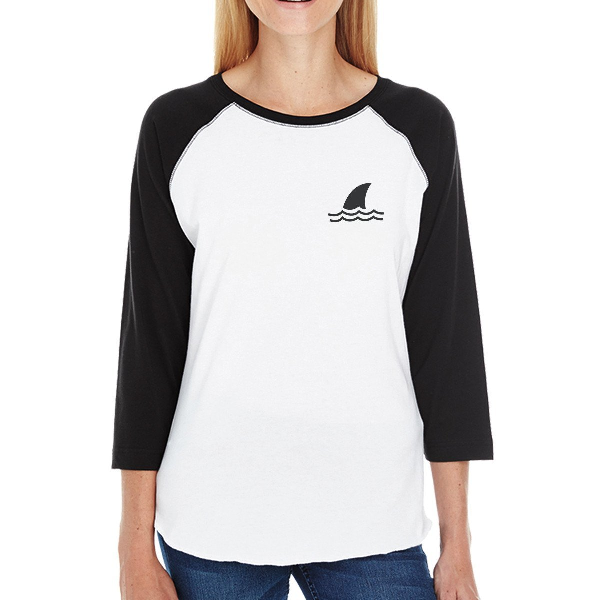 Women's Cool Black Sleeve Baseball Raglan Tee by TSF Design