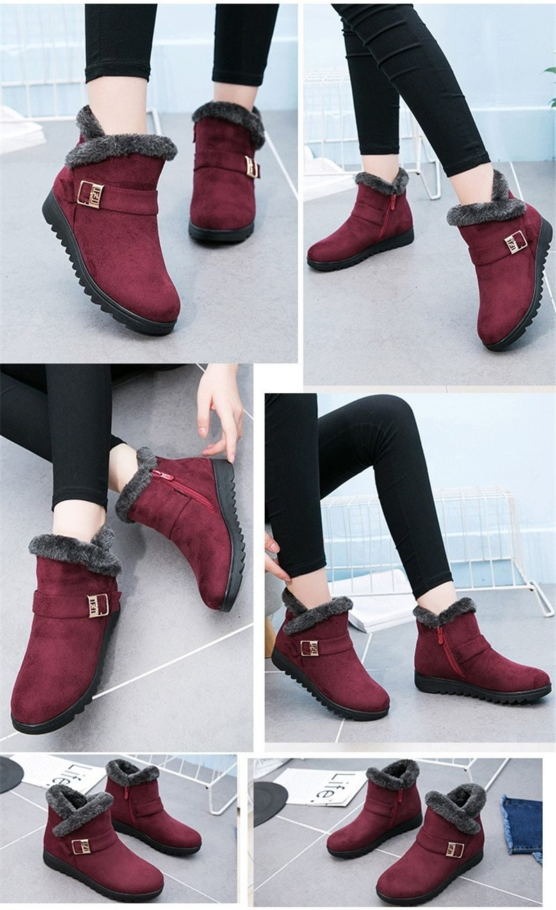 Women's Plush and Warm Suede Winter Snow Boots - Benn~Burry