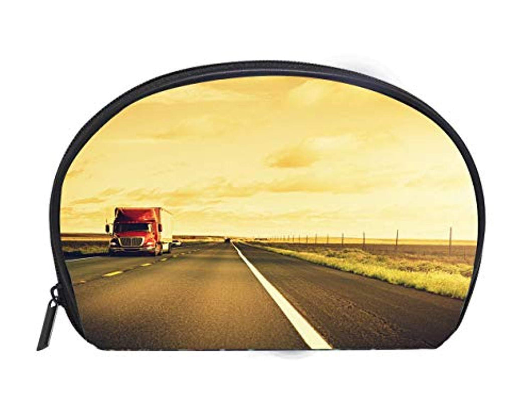 Multi-function/Half-moon Cosmetic Bag American truck on route 66 USA Ladies Travel Convenience Small Wash Bag Storage Bag