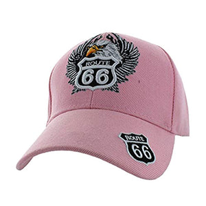 The Mother Road Route 66 Baseball Adjustable Hat Cap Light Pink