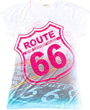 Load image into Gallery viewer, Sweet Gisele Route 66 T-Shirt | Beautiful 3D Graphic Print | Womens Tee w/Bling