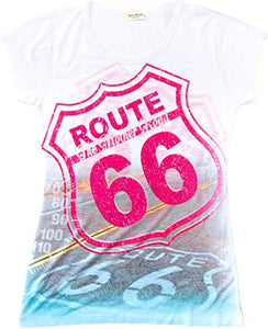 Sweet Gisele Route 66 T-Shirt | Beautiful 3D Graphic Print | Womens Tee w/Bling