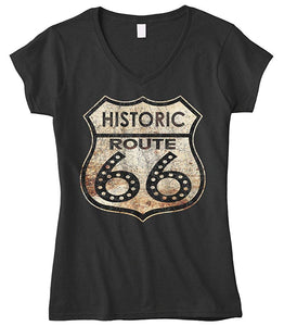 Cybertela Women's Historic Route 66 Fitted V-neck T-shirt