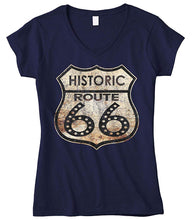Load image into Gallery viewer, Cybertela Women's Historic Route 66 Fitted V-neck T-shirt