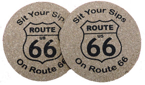 Route 66 Branded Round Coasters (Pack of 4)