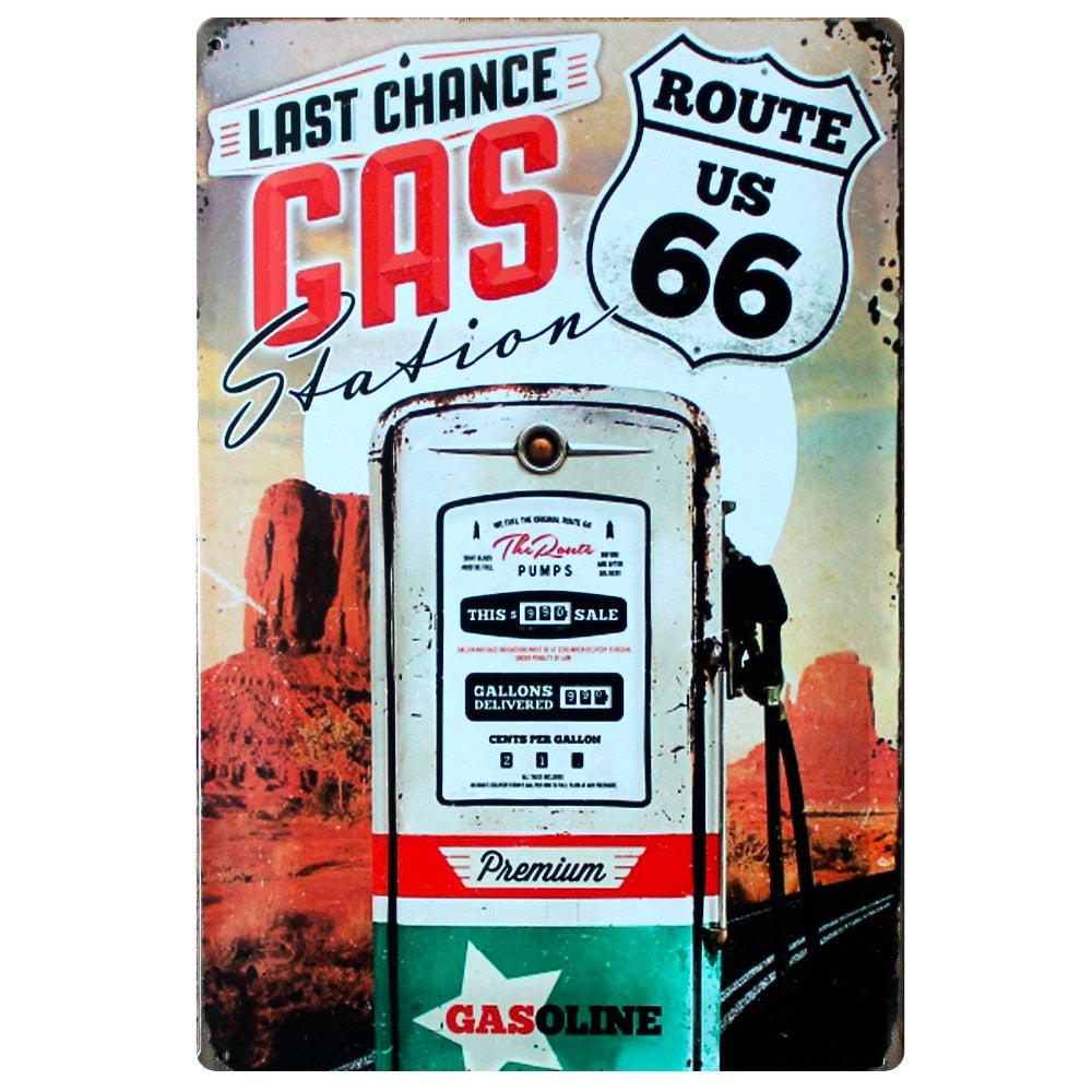 [ Mike86 ] Gas Station on Route US 66 New Metal Plaque Wall Decor Vintage Pub Sign   20*30 CM Mix Items B-262