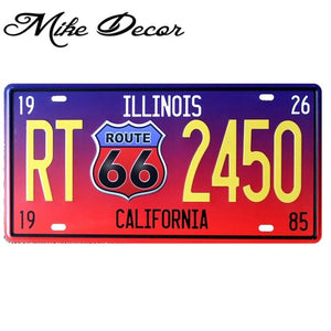 [ Mike86 ] RT2450 ROUTE 66 ILLIONIS Vintage License Plate Number Retro Art wall decor House Bar D-30 mix order 30*15 CM