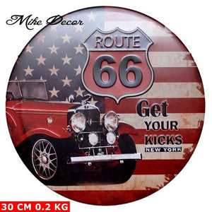 [ Mike Decor ] Route 66 GET YOUR KICKS Circular sign Metal Painting Retro Gift Craft Bar Pub Room decor YA-944 Mix order