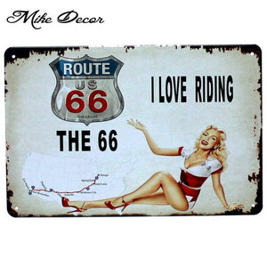 [ Mike86 ] Whoelsale tin signs USA Style Route 66 Metal painting Vintage sign RA-001 20*30 CM