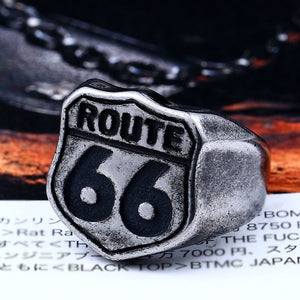 BEIER Stainless Steel USA Road ROUTE 66 Ring For Men Motor Biker Men's Jewelry vintage style free shipping BR8-126