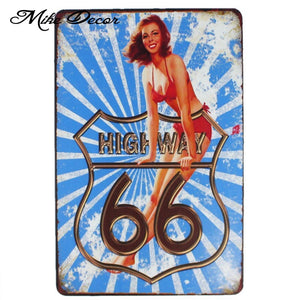 [ Mike86 ] Route 66 Pinup Lady Retro Metal Plaque Bar Home Public Decor Vintage Wall art Craft 20*30 CM Mix Items AA-1056