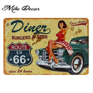 [ Mike86 ] Route 66 Superior Speedway Retro Metal Poster Home Public Decor Vintage Wall art Craft 20*30 CM Mix Items SL-8821