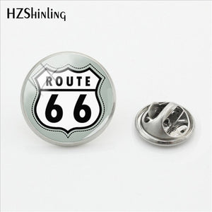 2018 New Historic Route 66 USA Butterfly Brooches Pins Route US 66 Lapel Pin Glass Dome Jewelry Silver Jewelry Lapel Pins