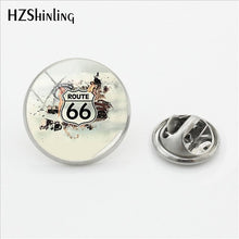 Load image into Gallery viewer, 2018 New Historic Route 66 USA Butterfly Brooches Pins Route US 66 Lapel Pin Glass Dome Jewelry Silver Jewelry Lapel Pins