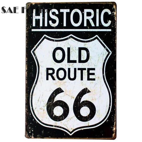 USA ROUTE 66 Road Vintage Painting Retro Metal Tin Sign Poster Plaque Bar Pub Club Wall Home Decor Craft Wall Art