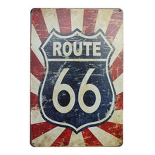 Load image into Gallery viewer, USA ROUTE 66 Road Vintage Painting Retro Metal Tin Sign Poster Plaque Bar Pub Club Wall Home Decor Craft Wall Art
